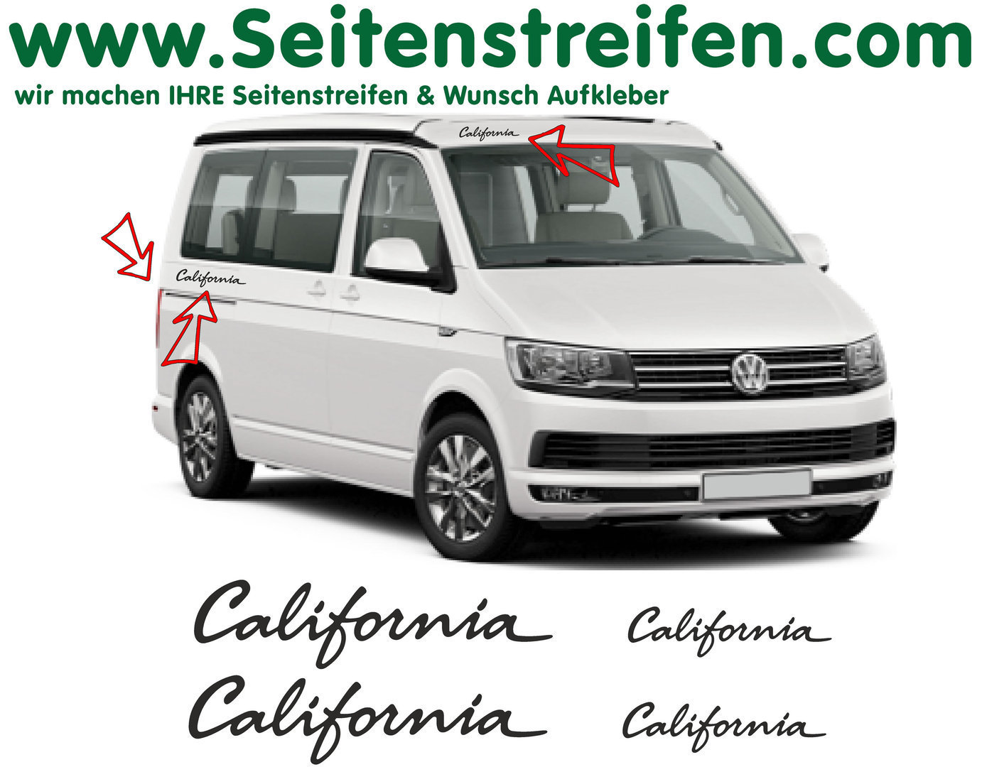VW T4 T5 T6 California set de 4 pegatinas  N°: 6683