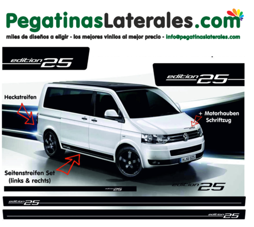 VW T4 T5 T6 Edition 25 set completo de pegatinas laterales  N°: 5122