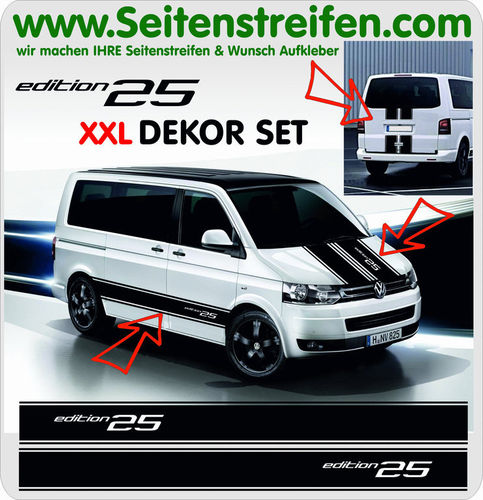 VW T4 T5 T6  Edition 25 XXL set completo de pegatinas laterales  N°: 5095