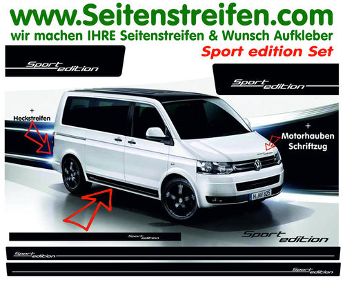 VW T4 T5 T6 Sport  Edition set completo de pegatinas laterales  N°: 5103