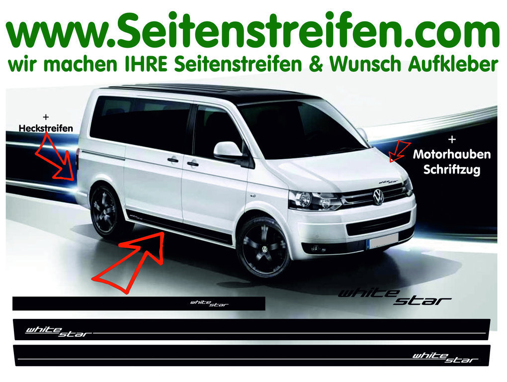 VW Bus T5 T6 White Star - Edition set completo de pegatinas laterales  N°: 9245