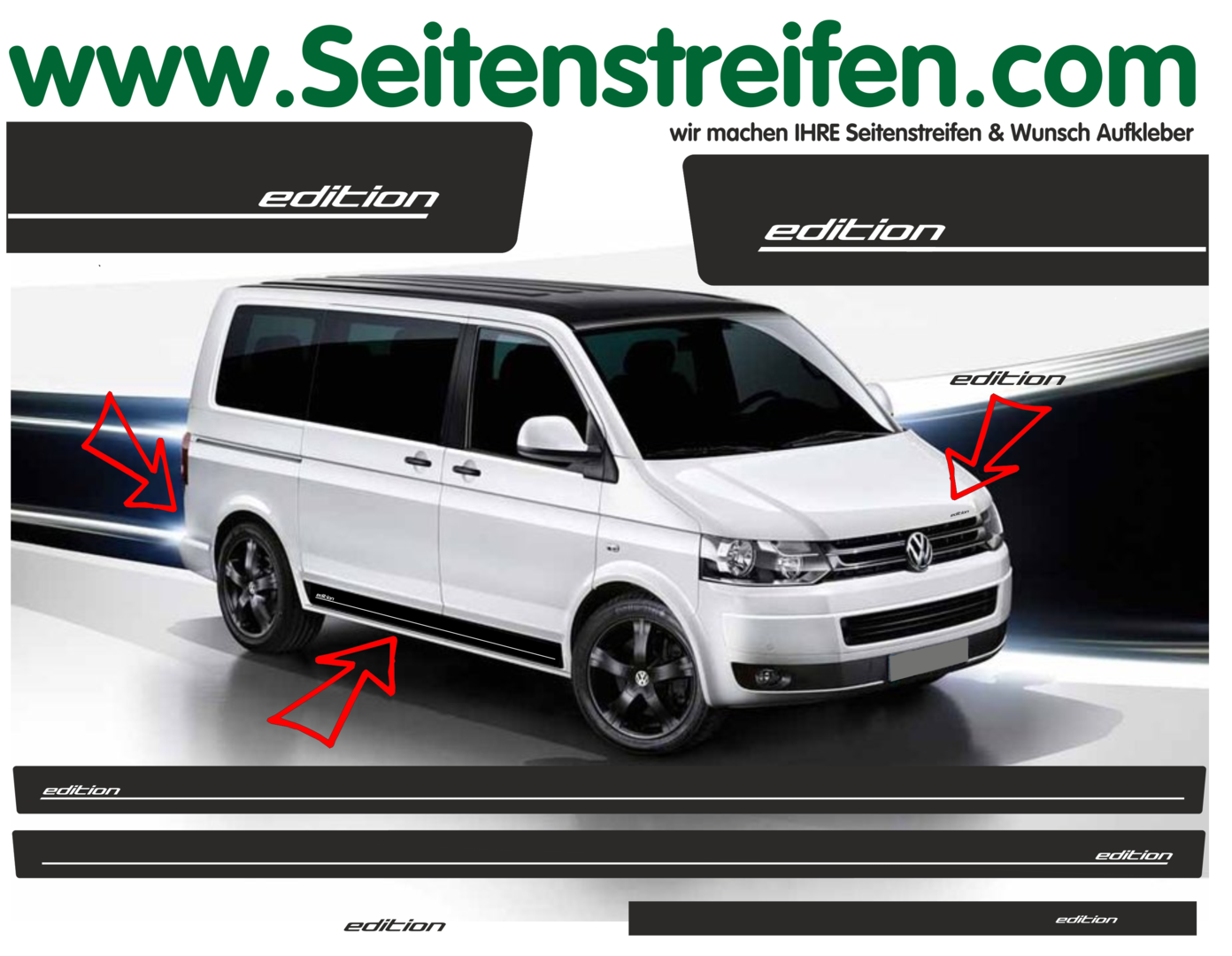 VW T4 T5 T6 - Edition Look set completo de pegatinas laterales  N°: 5330