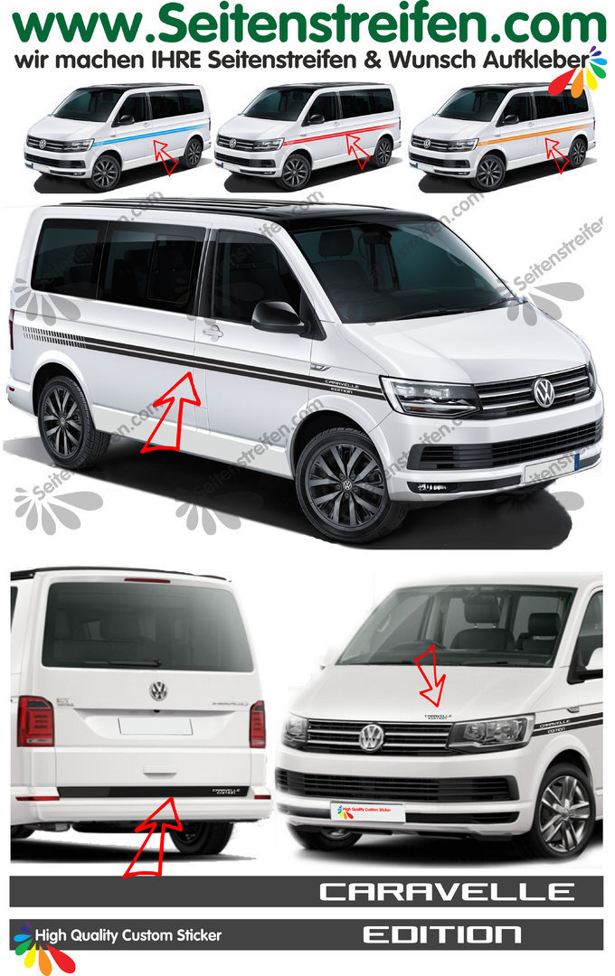 VW T4 T5 T6 CARAVELLE Edition EVO Custom - set completo de pegatinas laterales  N°: 4399