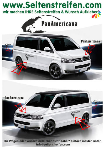 VW BUS T4 T5 T6 PanAmericana con Continente - set completo de pegatinas laterales  N°: 7785
