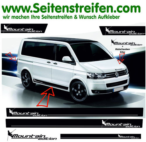 VW BUS T4 T5 T6 Mountain Edition - set completo de pegatinas laterales - N°: 2021