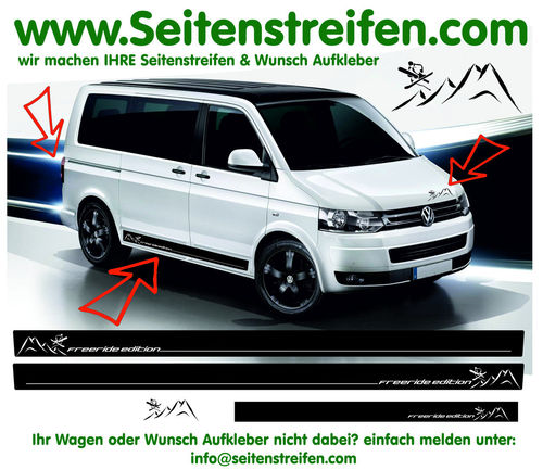 VW T4 T5 T6 Ski Freeride Edition - set completo de pegatinas laterales - N°: 5487