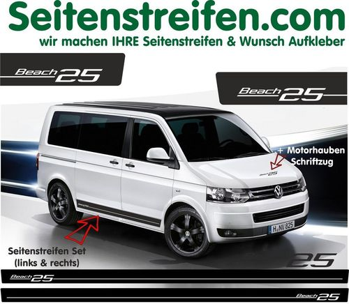 VW T4 T5 T6 Beach Edition 25 - set completo de pegatinas laterales - N°: 5111