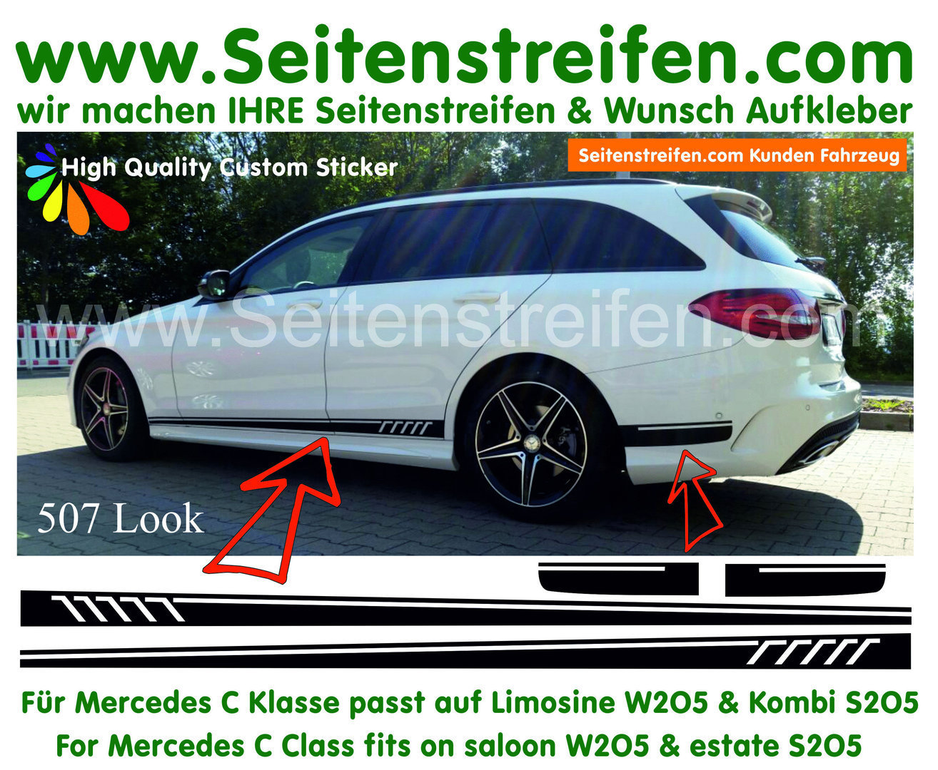 Mercedes Benz Clase C W205 & S205 - C63 AMG 507- set completo de pegatinas laterales  N°: 6444