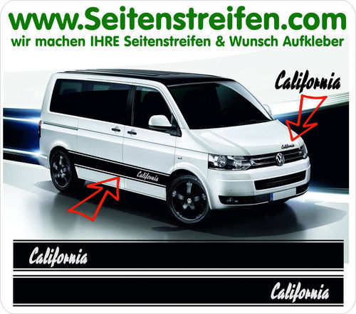 VW T4 T5 T6 CALIFORNIA Pulp Fiction Style - set completo de pegatinas laterales N°:5028