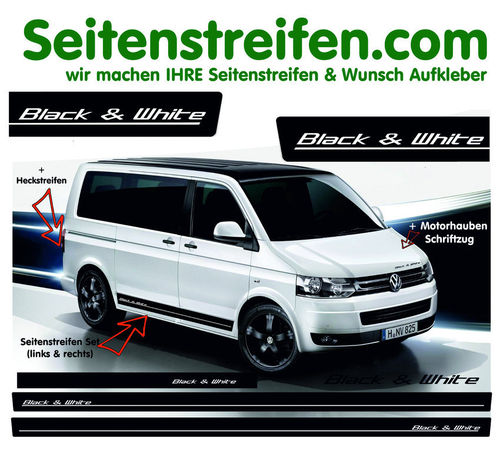 VW T4 T5 T6 CALIFORNIA Black & White- set completo de pegatinas laterales N°:1789