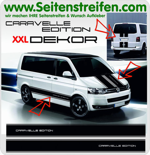 VW T4 T5 T6 CARAVELLE EDITION xxl - set completo de pegatinas laterales  N°: 8523
