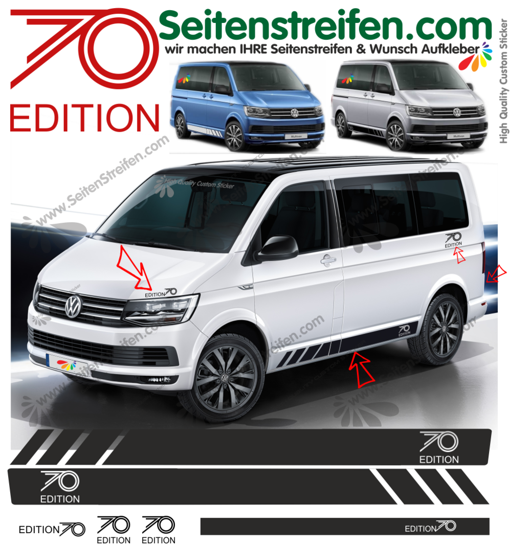 VW T4 T5 T6 EDITION 70 Years - set completo de pegatinas laterales  N°: 9477