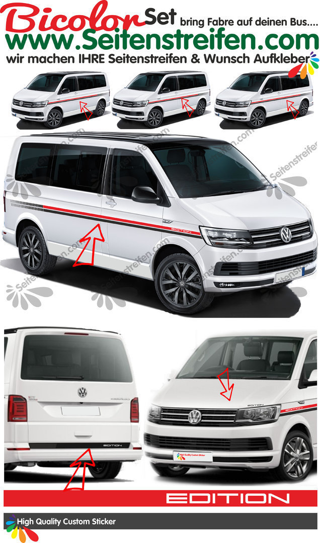 VW T4 T5 T6  Bicolor set Edition EVO Custom - set completo de pegatinas laterales  N°: 2301