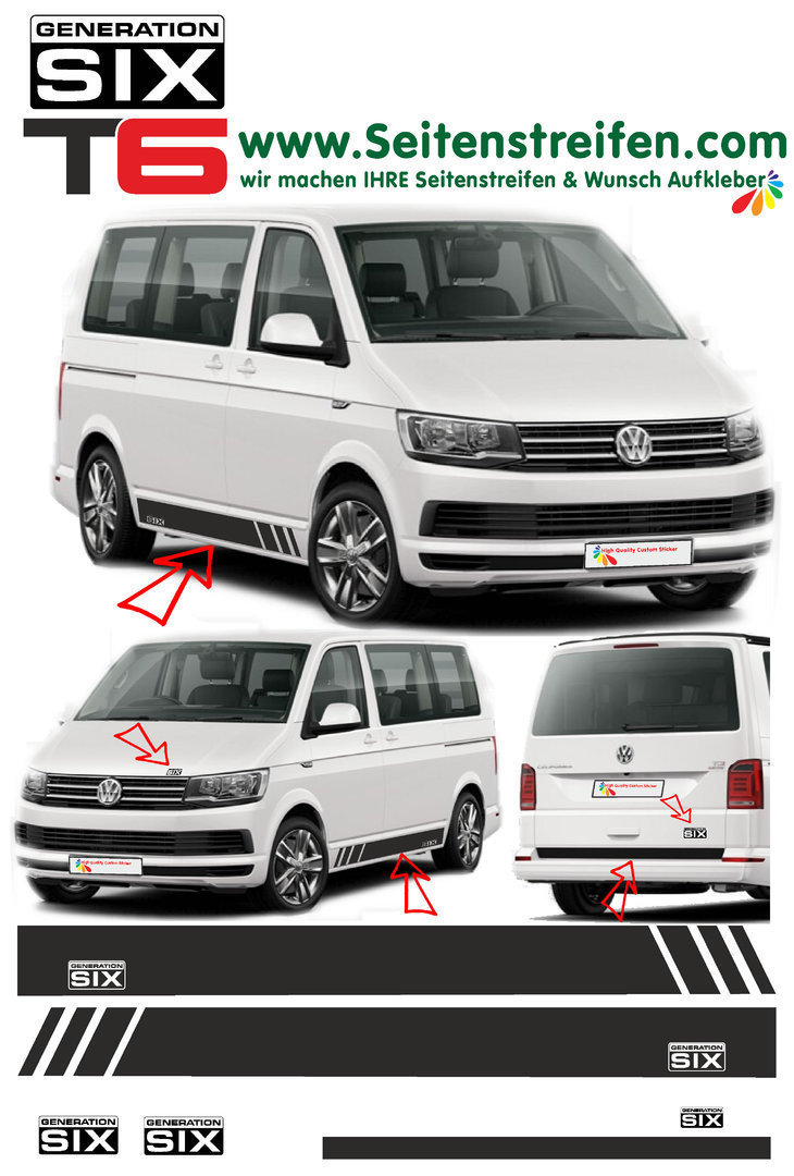 VW T4 T5 T6 Edition Generation Six - set completo de pegatinas laterales  N°: 5497