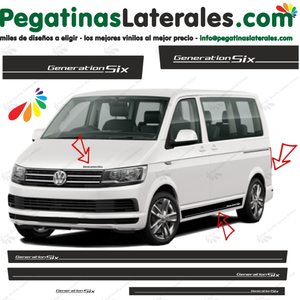 VW T4 T5 T6 Generation Six - set completo de pegatinas laterales  N°: 5771