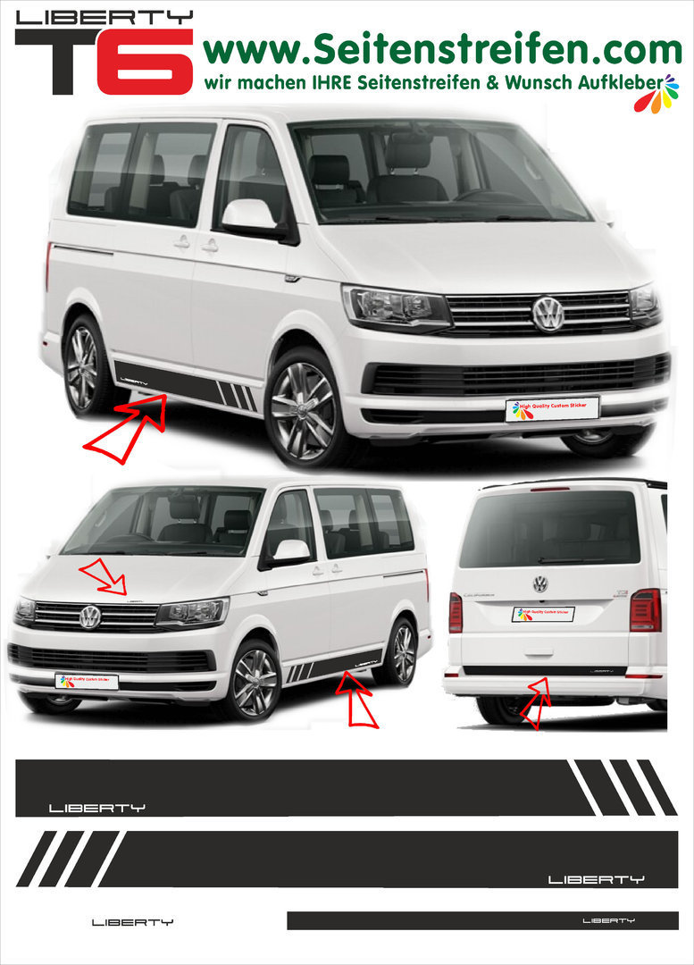 VW T4 T5 T6 Edition Liberty - set completo de pegatinas laterales  N°: 5481