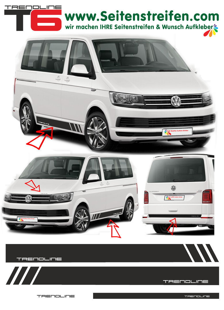 VWT4 T5 T6 Edition TRENDLINE - set completo de pegatinas laterales  N°: 5409