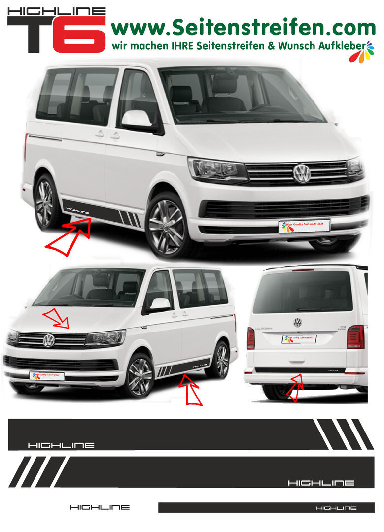 VW T4 T5  T6 Edition HIGHLINE - set completo de pegatinas laterales  N°: 5494