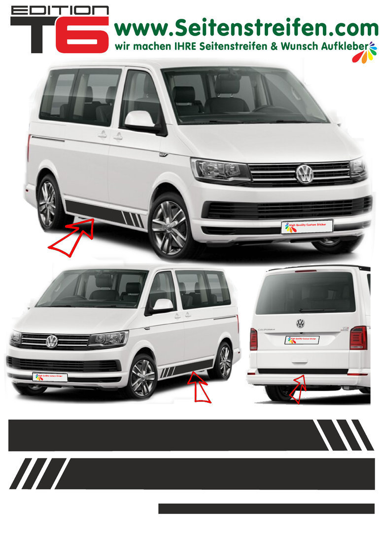 VW T4 T5 T6 Edition sin texto - set completo de pegatinas laterales  N°:5475