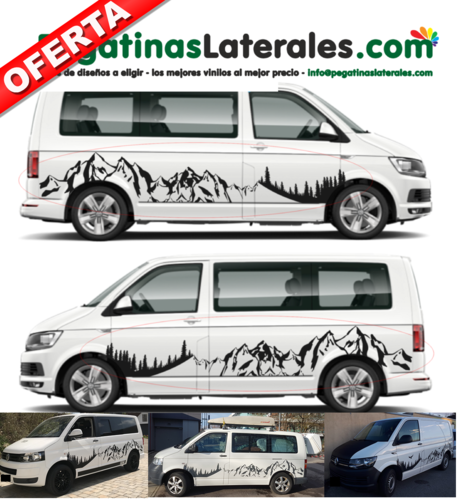VW T4 T5 T6 - Montañas - panorama forestal  XXL - set completo de pegatinas laterales  N°:3000
