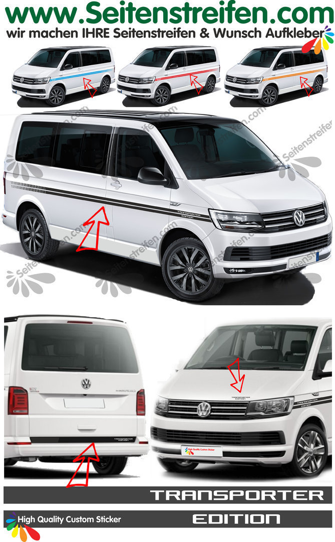 VW T4 T5 T6 Transporter Edition EVO Custom - set completo de pegatinas laterales  N°:2499