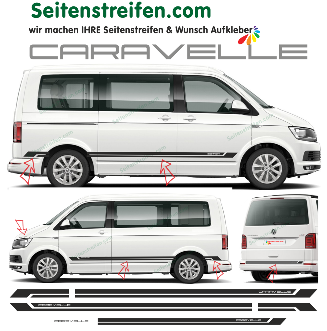 VW T4 T5 T6 CARAVELLE Edition 2018 - set completo de pegatinas laterales  N°:9073