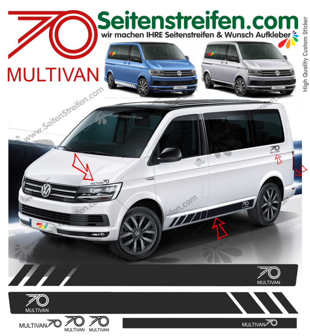 VW T4 T5 T6 Multivan edition 70 Years - set completo de pegatinas laterales  N°:9450