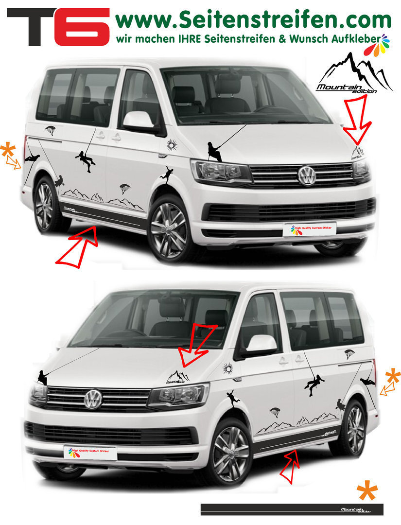 VW T4 T5 T6 Climber paraglider Sport Mountain Edition - set completo de pegatinas laterales  N°:6925
