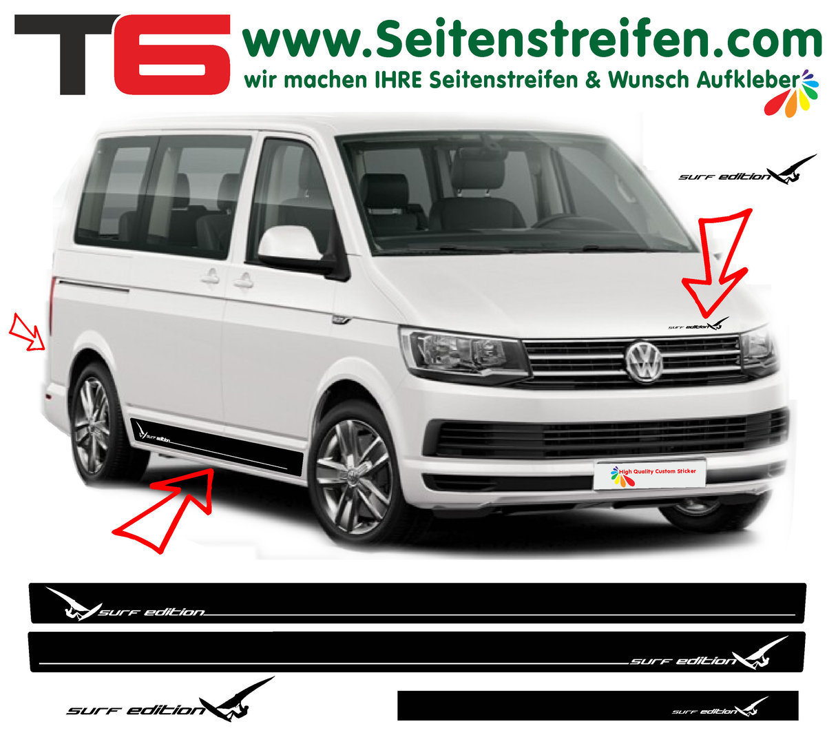 VW T4 T5 T6 Surf Edition Sport - set completo de pegatinas laterales  N°6929