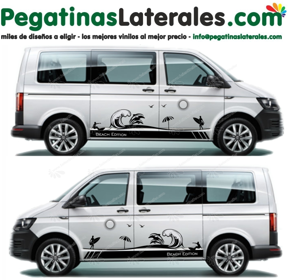 VW Bus T4 T5 T6 Beach Edition - set completo de pegatinas laterales  N°:U1903