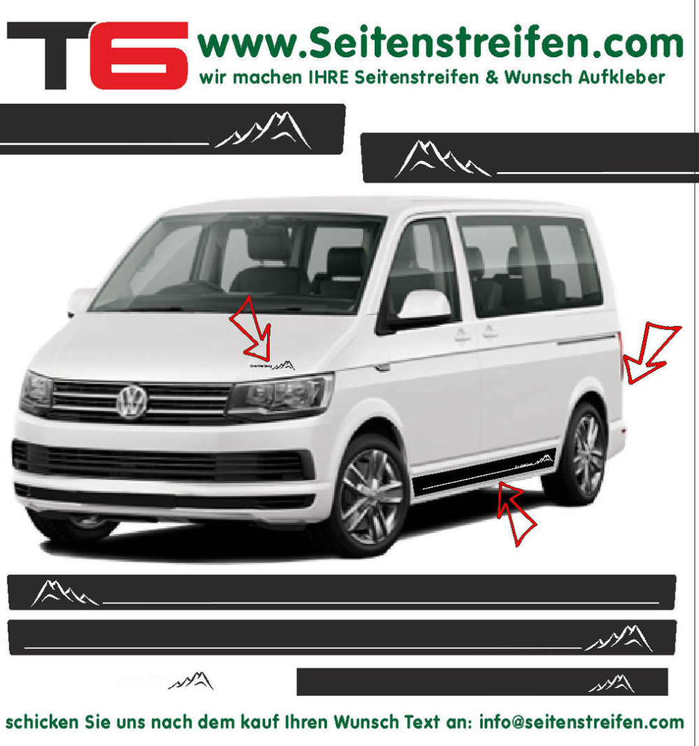 VW T4 T5 T6 sin Texto montañas - set completo de pegatinas laterales - N°: A6680