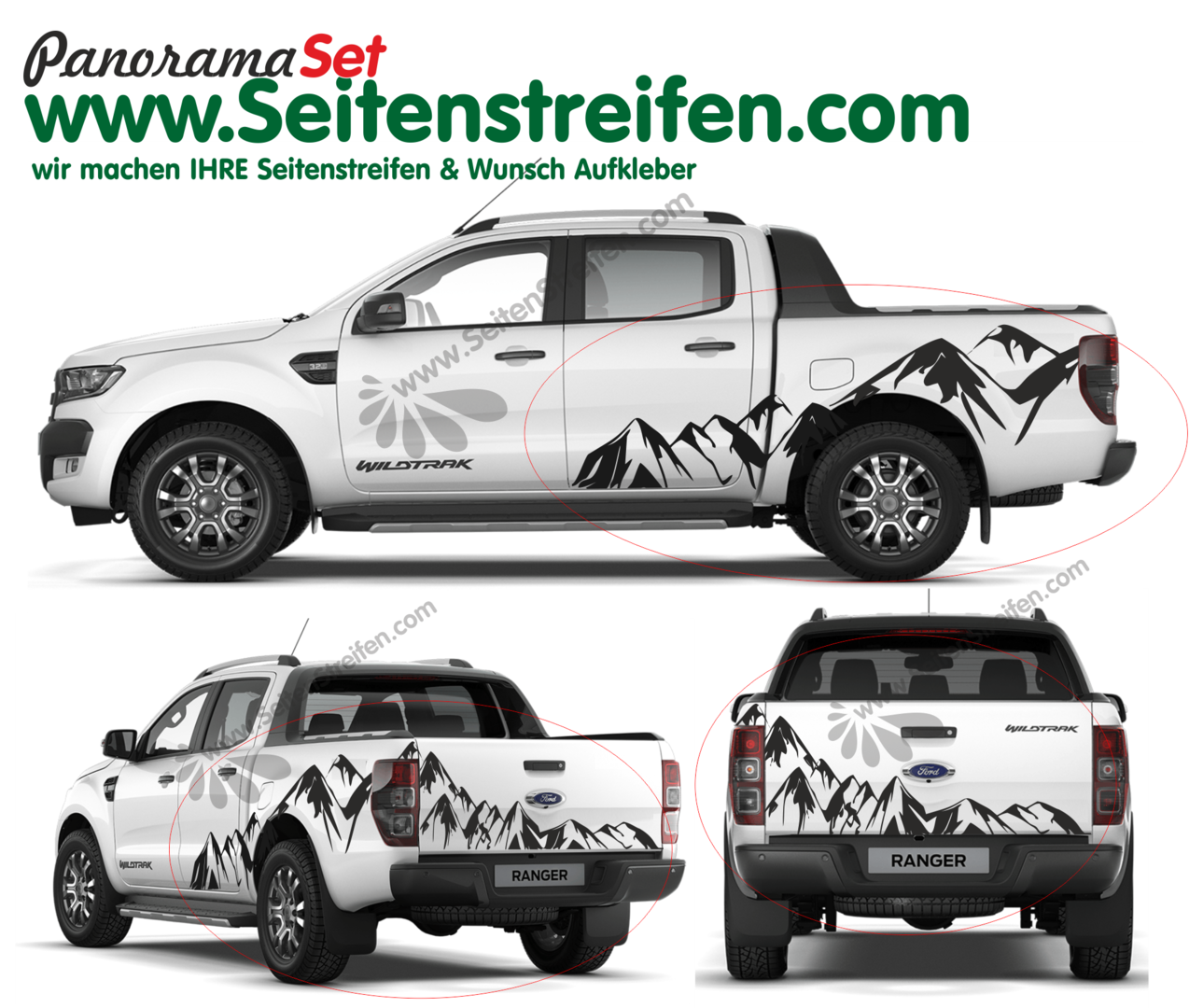 Ford Ranger Mountain Edition - set completo de pegatinas laterales  N°:3924