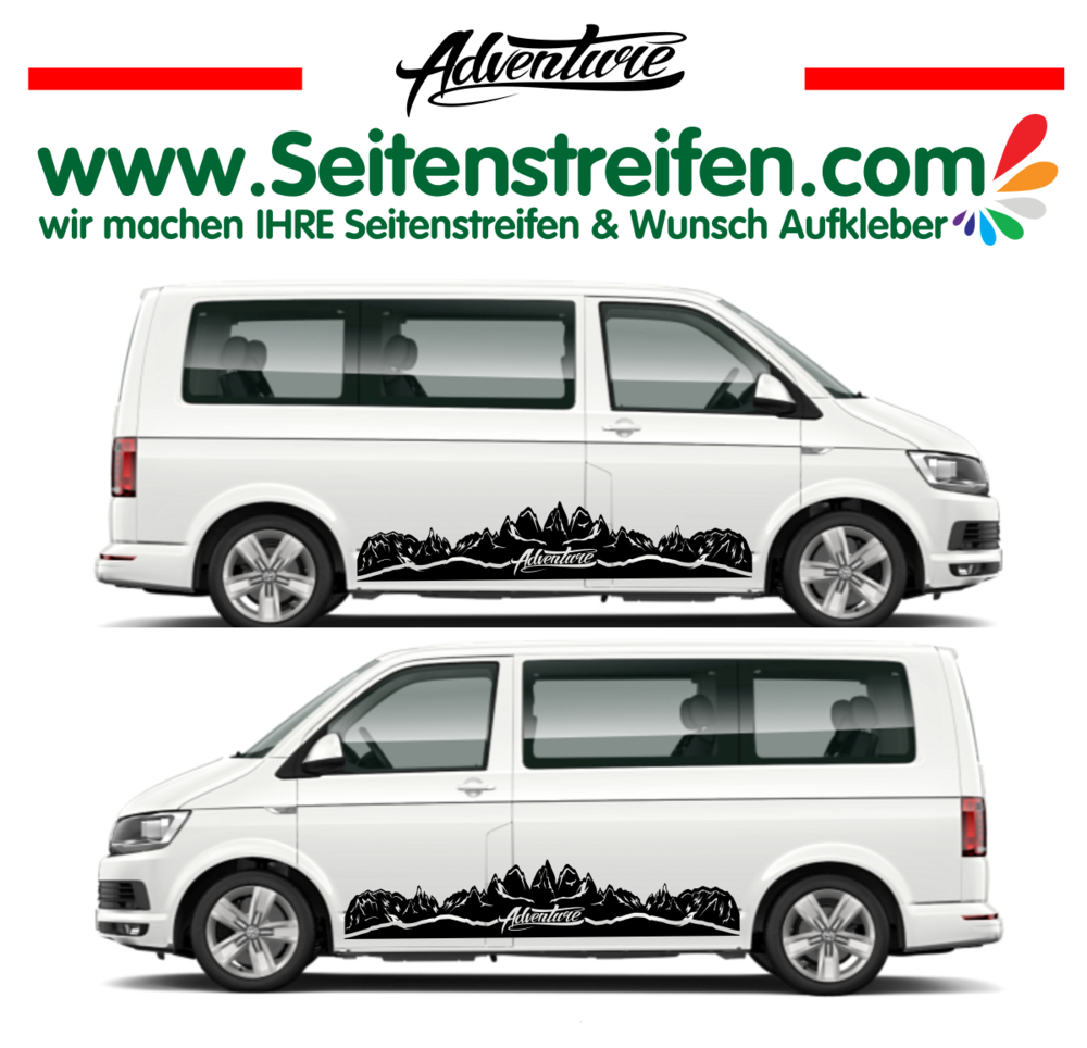 VW - T4 T5 T6 -  Mountain Adventure -  Set de pegatinas laterales - N° U1921