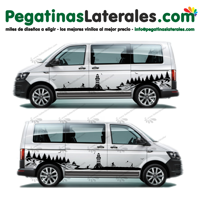 VW T4 T5 T6 -  Playa - mar y montañas - Set pegatinas laterales N°: U1997