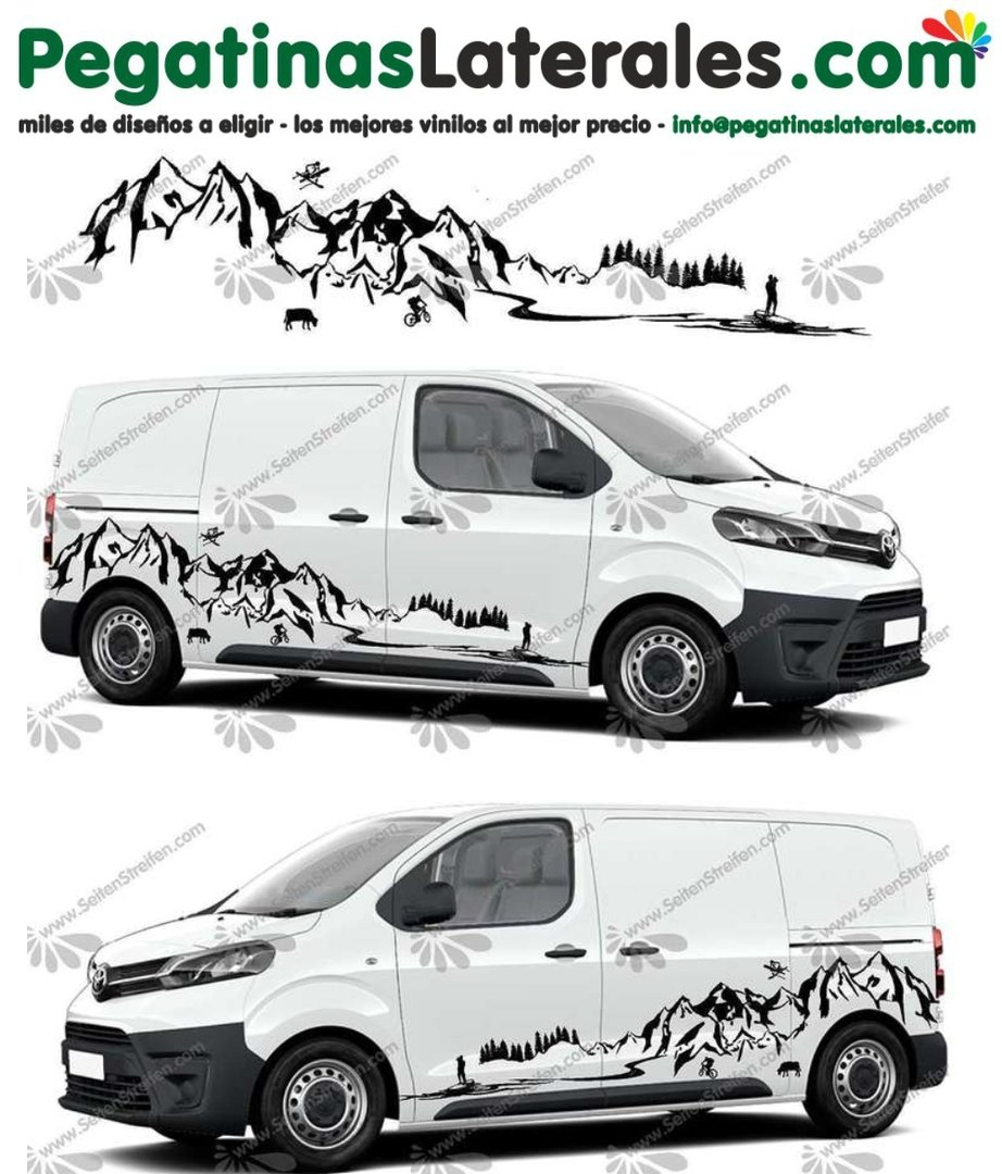 Toyota ProAce & Verso - Stand Up Paddle - Montañas Lago Mar - set de pegatinas laterales N°:U 5011