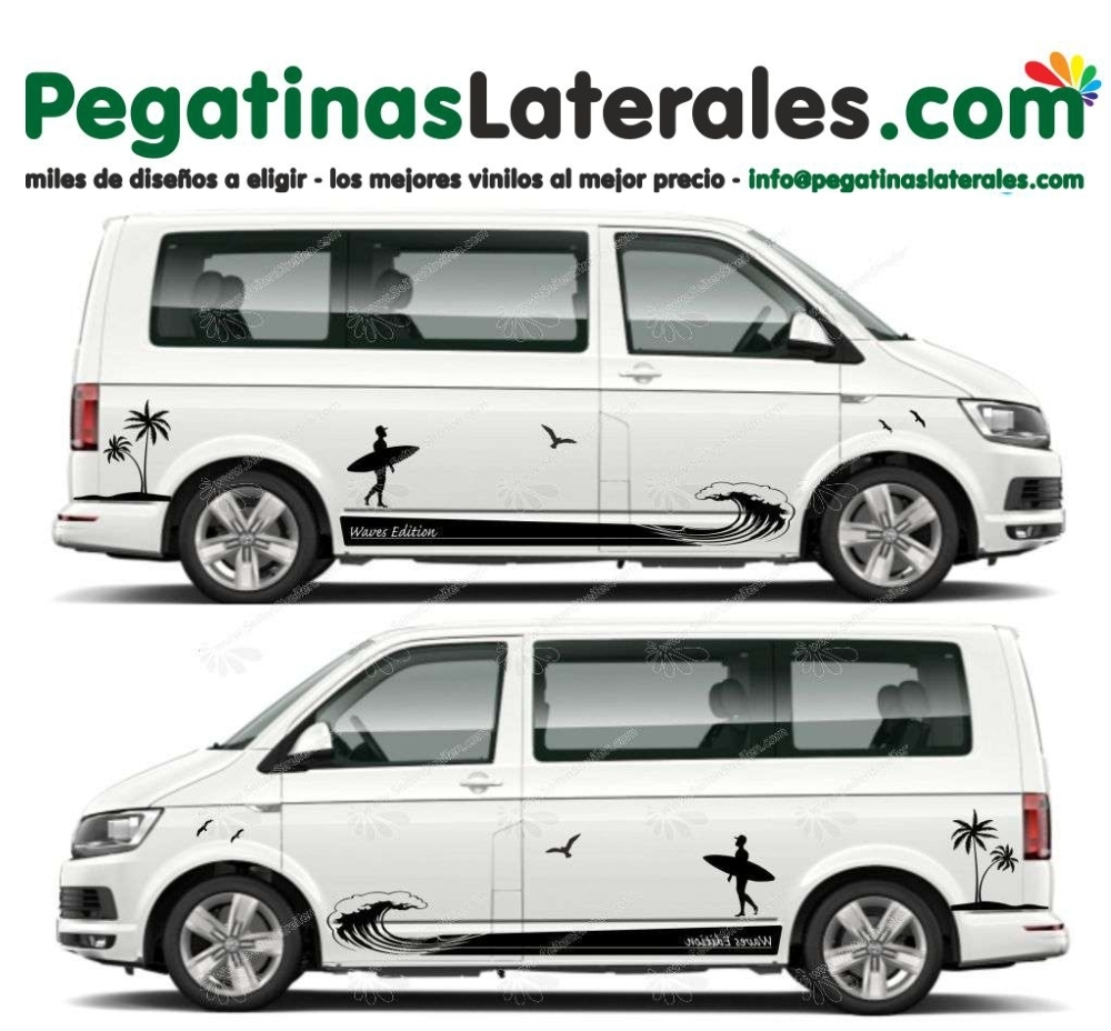 VW T4 T5 T6 - Tablista Surf Wave Edición - set de pegatinas laterales N°:U 5019