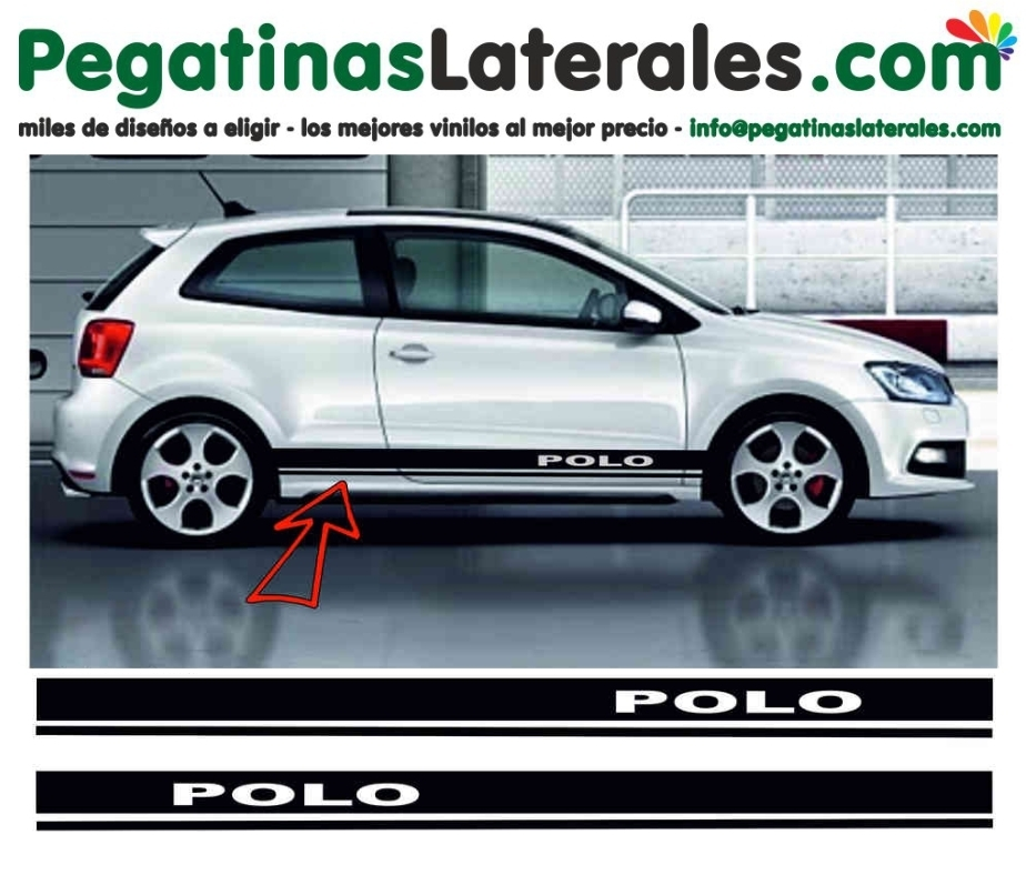 VW POLO  - rayas laterales - Set completo de pegatinas laterales - 8521