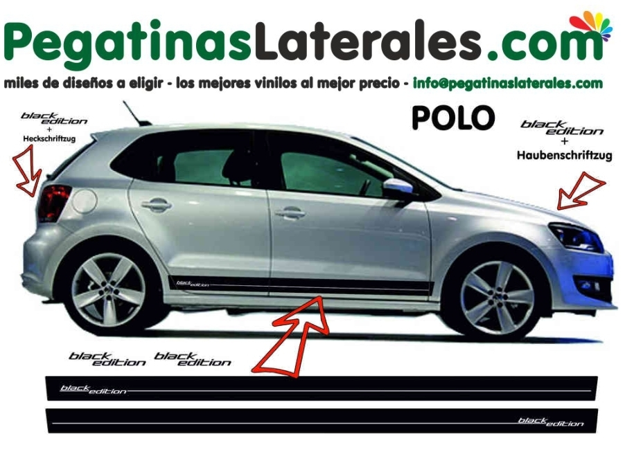 VW POLO  - rayas laterales - Set completo de pegatinas laterales - 9522
