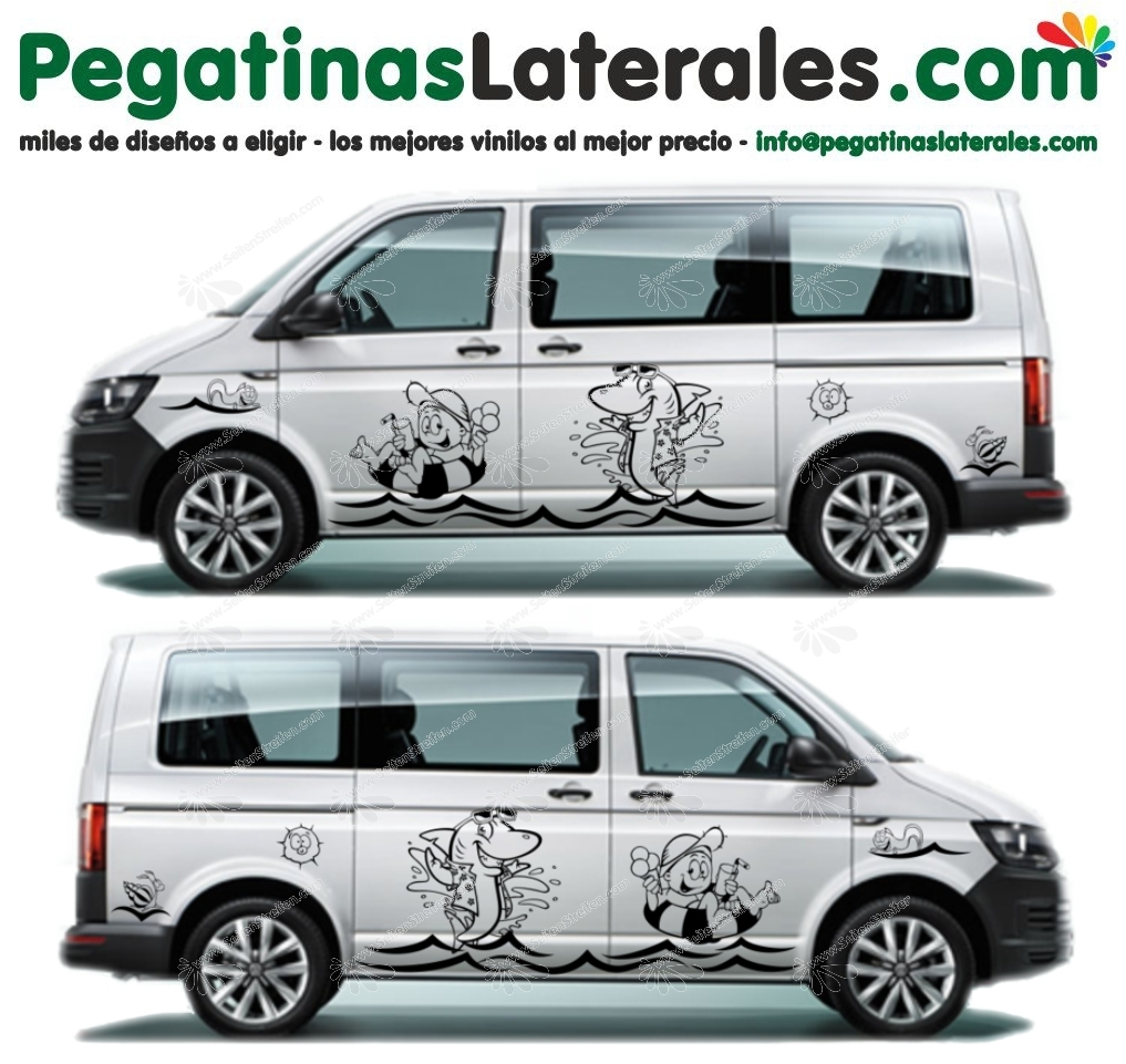 VW - T4 T5 T6 -  Playa Fun Edition -  Set de pegatinas laterales - N° U1917