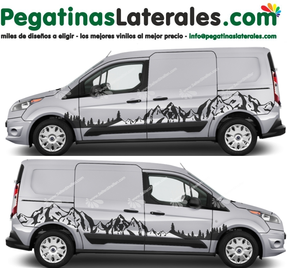 Ford Tourneo Connect - montañas bosque -  set de pegatinas laterales N°:U 3004